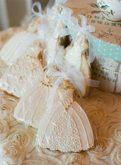 Wedding dress cookies, so pretty to have in silver bowl or on a tray for a Bridal Luncheon.