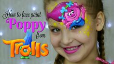 """Learn how to face paint Princess Poppy from the """"Trolls"""" movie. This makeup for kids is a great face painting idea for Trolls fans. Great face painting tutor..."""