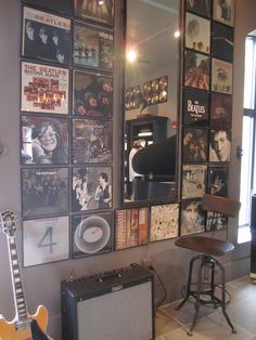 album covers on wall restoration hardware boston - Google Search