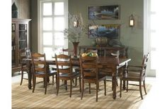 Fine Furniture Summer Home 9pc Rectangular Dining Table with LadderBack Chairs Dining Room Set 1050