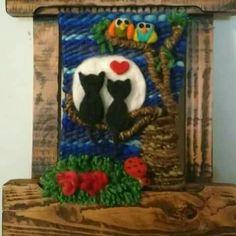 Resultado de imagen para telares decorativos arboles Diy Finger Knitting, Textiles, Felt Crafts, Lana, Boho Chic, Weaving, Home And Garden, Wool, Painting