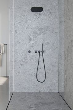 Wall mounted complete shower set from Piet Boon collection | byCOCOON.com | high end shower heads | bathroom fittings pictures | luxury showers | high end bathroom sets | designer bathroom hardware | waterfalls shower | stainless steel shower | rain shower head | luxury bathroom products | high end bathroom faucets | exclusive designer bathroom accessories | bath room decor | bathroom designs pictures | luxury bathroom fixtures | Black Bathroom Taps, Grey Bathroom Tiles, Small Bathroom, Bathroom Hardware, Bathroom Sets, Bathroom Fixtures, Grey Bathrooms Designs, Contemporary Bathroom Designs, Bathroom Design Luxury