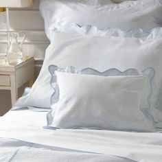 This seersucker cotton bedding finished with a scalloped trim combines weightless comfort and a handsome crisp style If you love seersucker and the look Monogram Bedding, Applique Monogram, Block Island, Chic Bedding, Cotton Bedding, Bed Covers, Bed Sheets, Bed Pillows, Pillow Cases