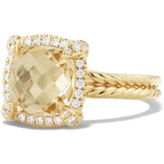 David Yurman Chatelaine Pave Bezel Ring with Champagne Citrine and... ($2,200) ❤ liked on Polyvore featuring jewelry, rings, 18k ring, citrine gold ring, 18k diamond ring, yellow gold rings and pave ring