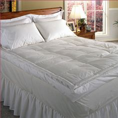 Add an extra layer of comfort to your guest bed with this twin featherbed, featuring a cotton cover and baffle box design.   Product...