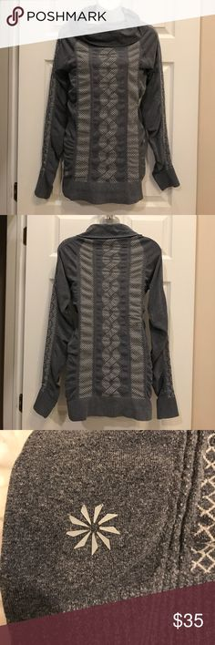 Athleta Braided WeevePullover Excellent used condition. Size medium. Super stretchy. Cowl neck. Athleta. Long sleeve. Grey. Athleta Tops