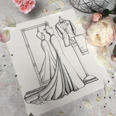 Sometimes customers have custom requests - I try to accommodate. This illustration is a Bride n' Groom Sketch with Mirror View of the Bride. Exclusively available from the Wedding Dress Ink studio, upon request. Irish-made bridal fashion illustration capturing the full wedding day style. Enquire if this is something you'd like to consider. weddingdressink.com/contact-us #christmasgiftideas #christmas2020 #christmasgifts2020 #weddingdressink #audreyvance #irishmade #shoplocal #buyirish