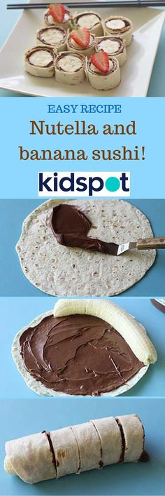 Healthy Snacks Recipes - Easy Nutella and Banana Sushi - perfect for after schoo.,Healthy, Many of these healthy H E A L T H Y . Healthy Snacks Recipes - Easy Nutella and Banana Sushi - perfect for after school or before a workout - Recipe v. Sushi Recipes, Nutella Recipes, Baby Food Recipes, Snack Recipes, Kid Recipes, Jello Recipes, Whole30 Recipes, Vegetarian Recipes, Kidspot Recipes