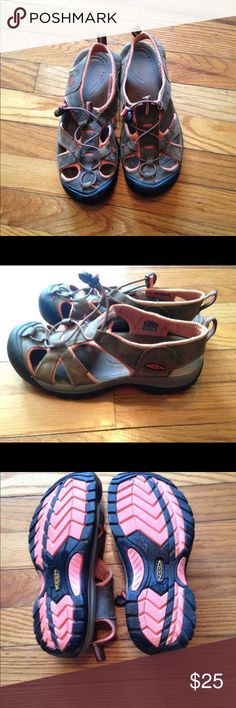 LADIES KEEN SHOES LADIES KEEN SHOES. SIZE 9. BROWN WITH CORAL TRIM. GREAT CONDITION KEEN Shoes Sandals