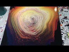 (8) Rainbow Ring Acrylic Pour on Large Canvas - YouTube