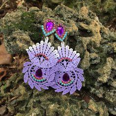 Lilac and Aqua Torchon Earrings de DDSoutache en Etsy