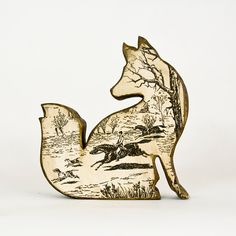 Carved Wood Fox with Fox Hunting Scene. $28.00, via Etsy.