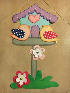 Spring birds # # # shed sweet love # # # nursery decoration - # birds . Foam Sheet Crafts, Foam Crafts, Preschool Crafts, Diy And Crafts, Arts And Crafts, Paper Crafts, Hand Crafts For Kids, Mothers Day Crafts, Bird Quilt
