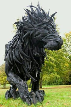 Tire sculpture. I chose this sculpture because of the visual interest and the detail of the lion.