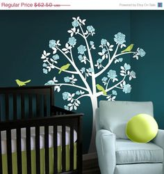 SALE 10 Flower Tree Wall Decals  Chinoiserie Rose Tree by Lulukuku, $72.00