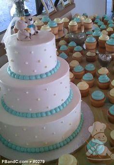 "Design W 0279   12""+9""+6"" Butter Cream Wedding Cake & Assorted Cupcakes   Custom Quote"