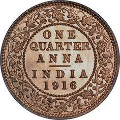 1916, King George V, Copper 1/4 Anna, Calcutta Mint, (PR # 661)