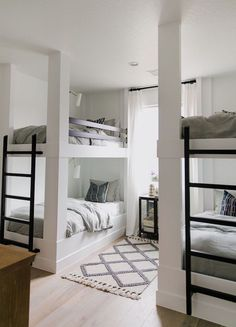 BECKI OWENS- Project Reveal: The Brio Bunk Room This is such a fun bunk room with built-in bunks and soft layers of pattern that feel like a subtle bohemian update on traditional. Read for images, details, and sources! Bunk Bed Rooms, Bunk Beds Built In, Queen Bunk Beds, Build In Bunk Beds, Corner Bunk Beds, 4 Bunk Beds, Cabin Bunk Beds, Bunk Beds For Boys Room, Rooms For Kids