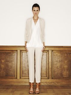 Rützou acetate rayon jacket with pockets in vanilla, rayon silk top in off white and acetate rayon pants in vanilla
