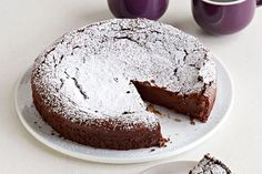 Butter, sugar, chocolate, eggs, coffee, pumpkin pie spice and icing sugar. Got 'em? Good! Now get this flourless chocolate cake into the oven!