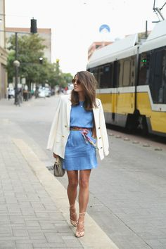 Ivory Blazer x Chambray Dress