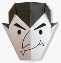 Origami A Dracula (face) instructions