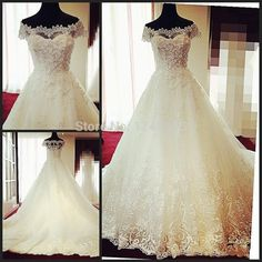 Sexy Lace White/Ivory Ball Gown Lace Applique Wedding Dress
