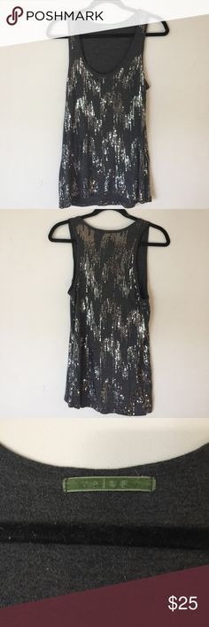 Sequined tank top by Velvet Tank top with silver sequins. Lightly worn, no pilling. Velvet Tops Tank Tops