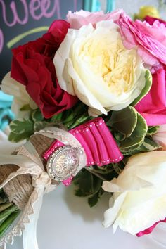 """Brides Bouquet with sentimental locket by """"NSE"""""""