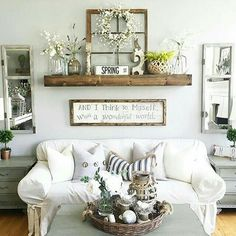 Rustic Wall Decor Idea Featuring Reclaimed Window Frames Perhaps Good For A  Family Room Wall