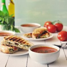 Caprese panini with a homemade roasted tomato soup. Perfect for autumn!