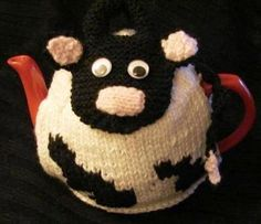 HAND KNITTED TEA Cosy Comical Cow Tea Cosy from an by KCUK