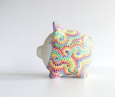 Rainbow Piggy Bank: Hand painted Piggy Dot painting Rainbow Made to Order Personalized