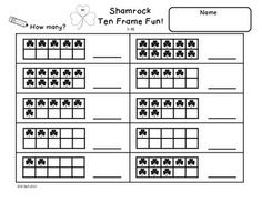 This is a set of 6 ten frame worksheets. Students will practice identifying and showing numbers 1-20 using ten frames. The shamrock theme makes them perfect for around St. Patrick's Day.
