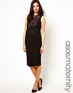 ASOS Maternity Exclusive Pencil Dress with Lace Panels..i need to find a big ole pregnancy dress for the wedding!