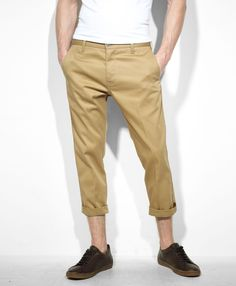 Check these out!  I really like the idea of a sharp, permanent front crease crop for the end of summer weather.  It also comes in a nice red.  Available only at the Levi's store or Levis.com    --Levi 508 Sta-Prest Cropped Pants in Harvest Gold--