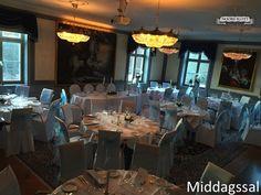 Middagssal, bröllop, dukning, vackert, stolsöverdrag,