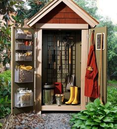 Storage shed organization ideas tool shed organization storage shed for garden shed shed plans style kits . storage shed organization Garden Storage Shed, Diy Shed, Small Garden Tool Shed, Diy Storage Shed Plans, Workshop Storage, Workshop Ideas, Outdoor Sheds, Outdoor Gardens, Small Outdoor Shed