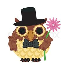 Owl in hat with flower | Vector | Colourbox on Colourbox