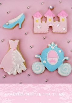 Cinderella Cookies~      By Tartas Cakes Haute Couture, Pink dress, blue carriage, pink castle, blue slipper