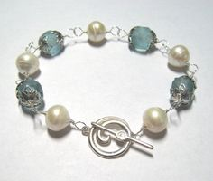 Sea Glass and Pearl Bracelet Aqua Sea Glass White Freshwater Pearls Wire Wrapped in Sterling Silver