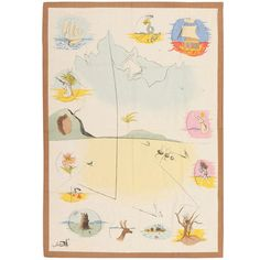 """Vintage French Salvador Dali Tapestry """"12 Tribes of Israel"""" 