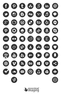 Free social media icons - editable in Ps: