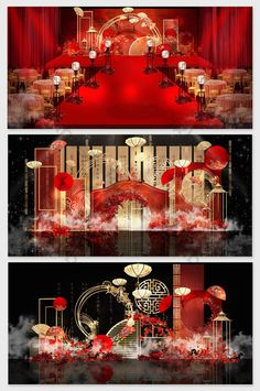 Marriage Hall Decoration, Wedding Stage Decorations, New Years Decorations, Table Decorations, Chinese Wedding Decor, Chinese Theme, New Chinese, Wedding Backdrop Design, Wedding Stage Design