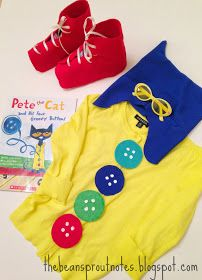 The Bean Sprout Notes: Pete the Cat Four Groovy Buttons Costume--make it grown up sized? Pete The Cat Costume, Cat Costume Kids, Teacher Halloween Costumes, Diy Halloween Costumes, Costume Ideas, Halloween Ideas, Creative Costumes, Halloween 2018, Halloween Stuff
