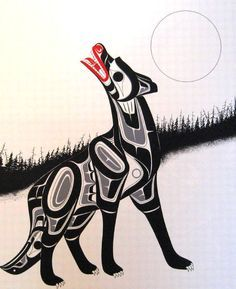 native american nw art wolf - Google Search