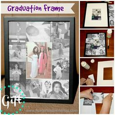 Make a personalized graduation frame for that special graduate. Use photos throughout the years to mat their graduation picture. {www.homemadeinterest.com}