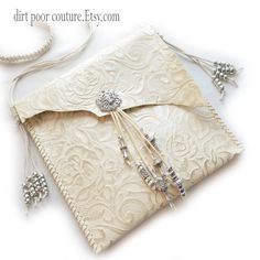 Tooled Leather Cream Cross Body Macrame by DirtPoorCouture