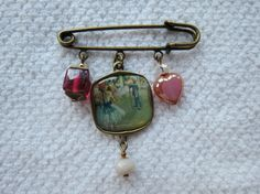 Scarf  or Lapel pin/brooch with glass ballet by LisasLocalColor, $20.00