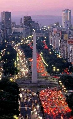 An overview of the Obelisco (The Obelisk) and the Avenida 9 de Julio at twilight, Buenos Aires, Argentina Central America, South America, Argentine Buenos Aires, Places To Travel, Places To See, Places Around The World, Around The Worlds, Wonderful Places, Beautiful Places